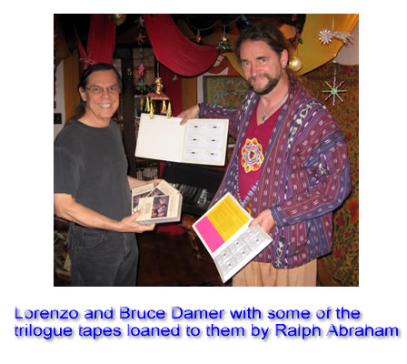 Lorenzo and Bruce Damer with some of the Trialogue tapes loaned to them by Ralph Abraham