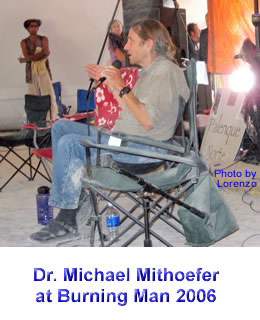 Dr. Michael Mitthoefer delivering his 2006 Palenque Norte Lecture at the Burning Man Festival