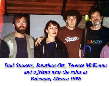 Paul Stamets, friend, Jonathan Ott, & Terence McKenna near the ruins at Palenque, Mexico 1996