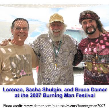 Lorenzo Hagerty, Sasha Shulgin, & Bruce Damer at Burning Man 20007