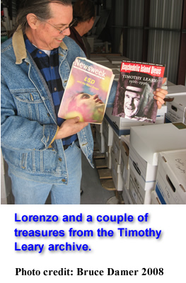 Lorenzo at the Timothy Leary Archive before the New York City Library bought the collection
