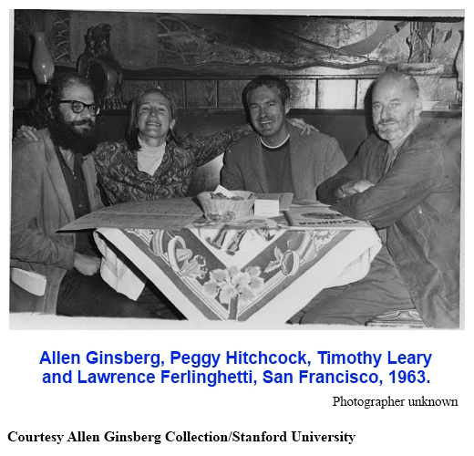 Allen Ginsberg, Peggy Hickcock, Timothy Leary, & Lawrence Ferlinghetti - San Francisco 1963