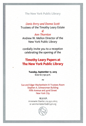 Invite to the Timothy Leary Archive