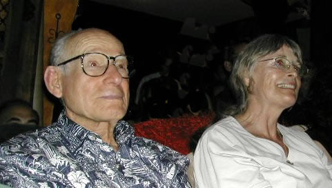 Psychedelic pioneer Myron Stolaroff and Marycie listen to Dr. Grob