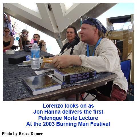 Jon Hanna delivering the first Palenque Norte Lecture at the 2003 Burning Man Festival
