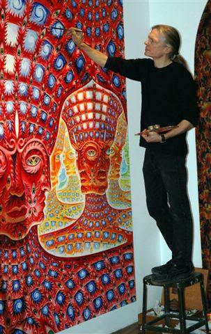 Alex Grey painting in his Manhattan studio.