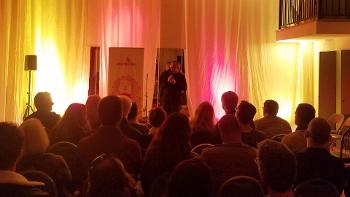 Lorenzo speaking at Psymposia's Blue Dot Tour stop in San Diego