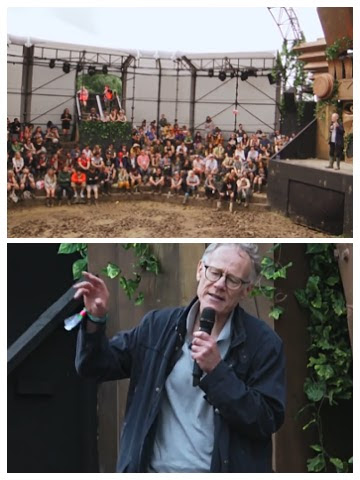 Graham Hancock speaking at the 2016 Glastonbury Festival
