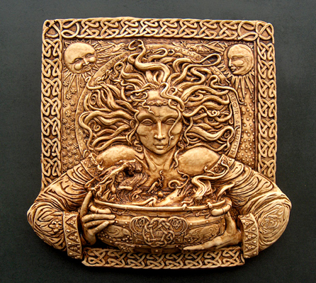 Celtic goddess, Cerridwen holding the cauldron