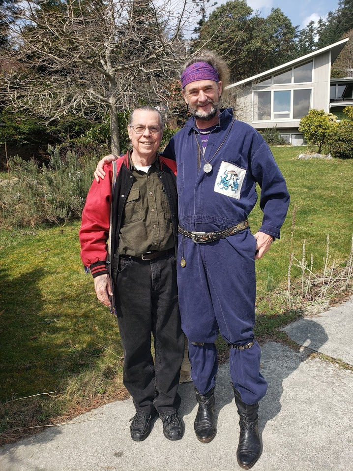 "Lorenzo and Bruce Damer who is wearing his ""spiritual flight suit""."
